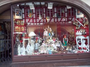Shop window in the city of Strasbourg, France