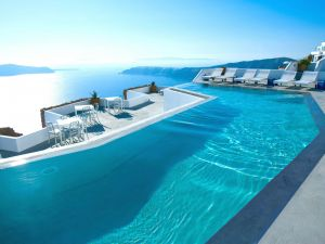 Pool of a seafront hotel (Santorini, Greece)