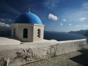 Dome of a church on the island of Santorini (Greece)
