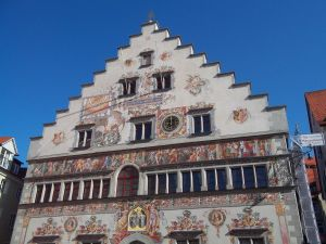 Facade of the Town Hall of Lindau (Bavaria, Germany)