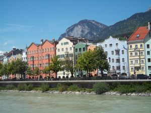 Typical houses on the shores of Eno River (affluent of Danube), passing through Austria