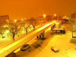 Nightly snowfall in the city