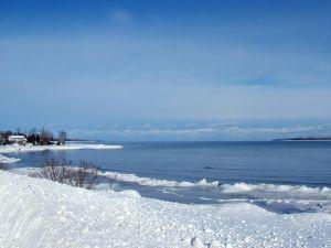 Snow at seashore