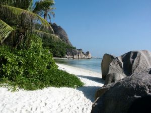 White sand beach on the island of La Digue, Seychelles