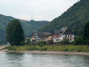 A hotel on the banks of the river Rhine (Germany)