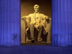 Statue of Abraham Lincoln at the Lincoln Memorial (Washington DC, United States)