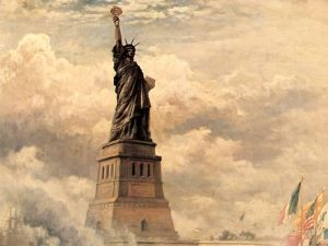 Unveiling of the Statue of Liberty Enlightening the World (1886) by Edward Moran
