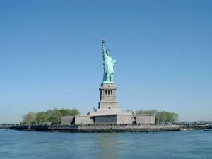 Statue of Liberty, on the small Liberty Island (New York)