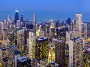 The city of Chicago at night
