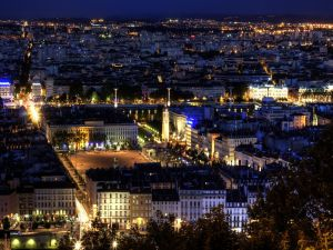 Panoramic view of the city of Lyon (France) at night