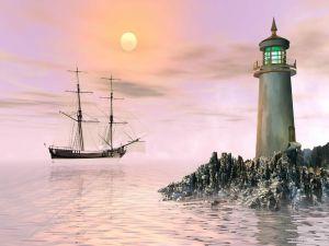 Lighthouse guiding a ship