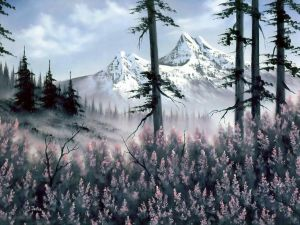 Painting of a snowed mountains of the painter Bob Ross