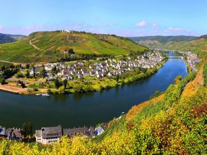 Moselle River as it passes through Bremm (Germany)