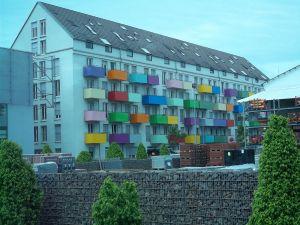 Colorful balconies in the university town of Tübingen (Germany)