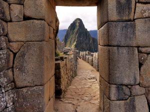 Stone buildings of Machu Picchu (Peru)