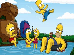 The Simpsons enjoying a field day