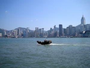 Boat sailing near Hong Kong Island (China)