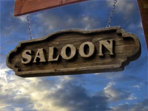 Saloon sign, a typical western bar