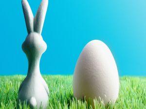Easter bunny beside an egg