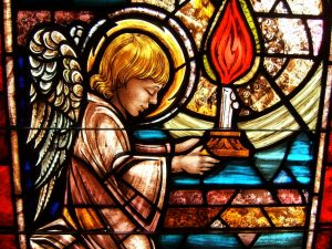 Stained glass with a little angel