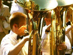 Musicians playing the tuba