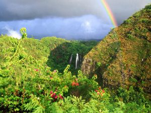 Rainbow over the Opaekaa Falls (Kauai, Hawaii)