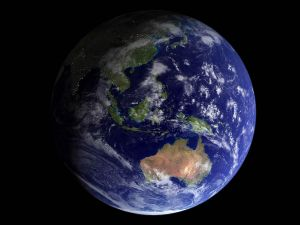 The planet Earth, showing part of Asia and Oceania