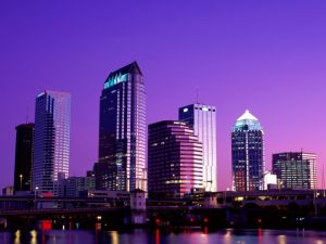 Purple Skyline of Tampa City, in Florida