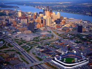Aerial view of Detroit, Michigan, United States