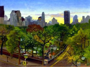 """Central park twlight"" painted by James Childs"