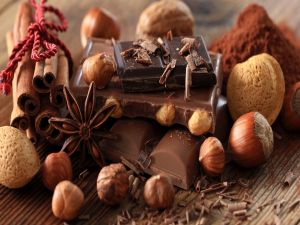 Chocolate with nuts, cinnamon and star anise