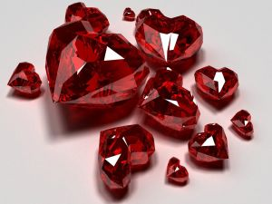Gemstones with heart-shaped