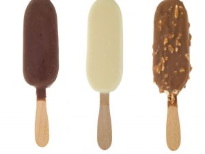 Ice creams coated of chocolate
