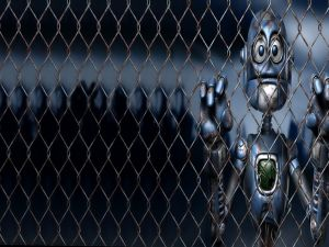 Robot behind a metal fence