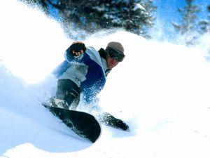 Snowboarding in Snowbird, Utah