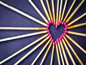 Matches forming a heart