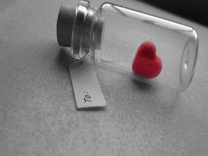 Heart in a glass bottle