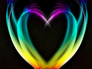 Heart formed with colored lights