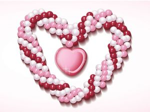 Heart of pink and white pearls