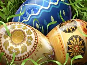 Easter eggs with beautiful designs