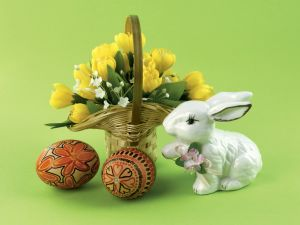 Flowers, Easter eggs and a bunny