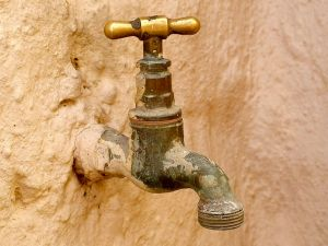 An old wall faucet