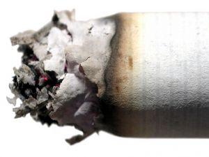 The ash of a cigarette