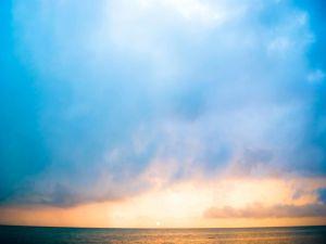Blue dawn over the sea