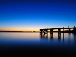 The horizon in Maraetai (Auckland, New Zealand) before sunrise