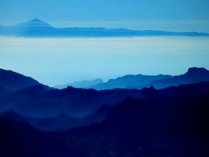 Island of Gran Canaria (Spain) in blue colors