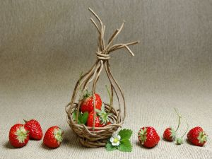 Small basket with strawberries