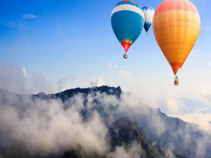 Balloons over the mountains