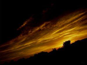 Dark and golden sky