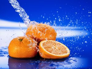 Oranges and a water jet